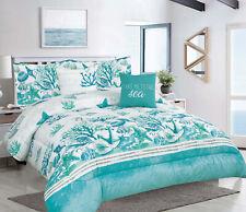 King or Full/Queen 5-pc Oversized Coastal Seashell Comforter Bedding Set, Teal