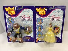 Vintage Disney Beauty And The Beast Wind Ems Figures Beast & Belle New On Cards!
