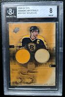 2000 01 SPx RAY BOURQUE GAME USED HOCKEY STICK JERSEY CARD HOF BOSTON BRUINS BGS