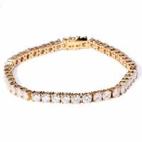 6 CTW Round Lab Created Moissanite Diamond Tennis Bracelets Solid14K Yellow Gold
