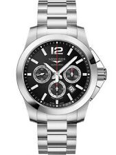 New Longines Conquest Black Dial Chrongraph Automatic Steel Mens Watch L38014566