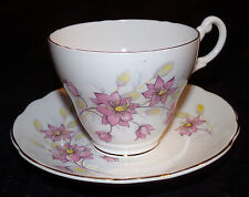 Vtg Teacup & Saucer Royal Ascot Pink Lilies Lily Flowers Fine Bone China England