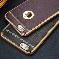IPHONE Luxury Slim Case LEATHER Design Soft Silicone Cover For iPhone 5 6 7 8