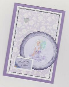 Blank Handmade Greeting Card ~ THINKING OF YOU with FAIRY IN CIRCLE