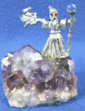 Pewter Wizard Sorcerer Red Eyes Crystal/Staff Standing On Amethyst Crystal Base