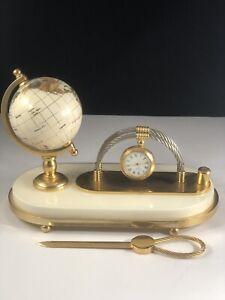 Small desktop letter holder w inlay White Globe: Shell Stone Marble Brass Clock