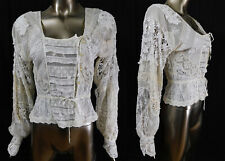 New listing Vintage Boho Victorian Style Antique White Mixed Lace Patchwork Handmade Blouse