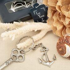 Portachiavi ancora tema mare argento bomboniera utile confezione scatola fiocco