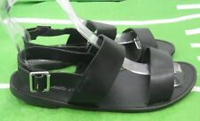 verano Negro Zapatos Mujer Sin Tacón Punta Abierta Sexy Sandalias Talla 7