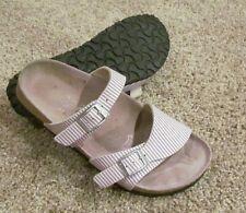Birki's by Birkenstock Striped Lavendar & White Two Strap Slides Sandals Sz 5-6