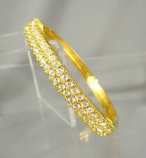 Gold Tone Double Row Clear CZ Crystal Rhinestones Bangle Clamper Bracelets #1019