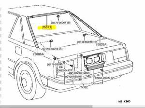 Toyota Genuine MR2 AW11 Upper Molding Back Window Outside 1984-89