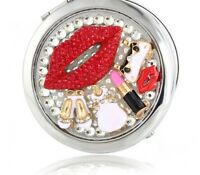 Women's Stainless Steel Mirrors Pocket Beauty Make-up Compact Mirror Rhinestones