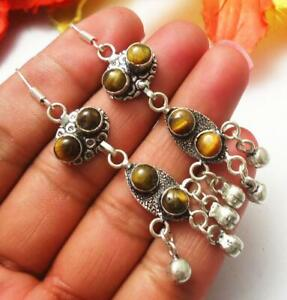 Tigers Eye Gemstone Dangle Earring Handmade Jewelry U221-A78