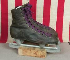 Vintage 1920s Winchester Black Leather Ice Skates Barney & Berry Antique Hockey