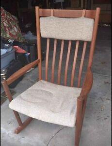 Danish Hans Werner - Tarm Stole Rocker Rocking chair With Cushion. Mid century.