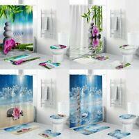 4X Shower Curtain Waterproof Home Bathroom Bath Mat Set Rug Toilet Lid Cover Set