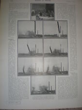 Printed photos demolition of a chimney in Middlewich Cheshire 1901