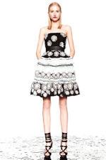 PRABAL GURUNG Black Silk Feather Bustier Full Skirt Dress  2