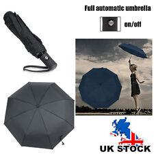 Extra Large Foldable Umbrella Sun/Rain10-Rib Wind Guard Auto Open and Close UK