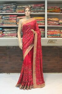 Persian Work Raw Silk Maroon Bollywood Saree Indian Designer Bridal Party Sari
