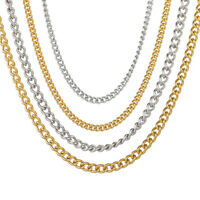 Stainless Steel Gold Silver Plated Plain Necklace Chain Women Men Jewelry Hiphop