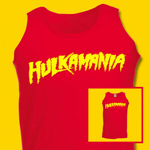Hulkamania Hulk Hogan Mens Tank top VEST Retro Fancy Dress WWE WWF S-2XL