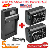 2x 1.5Ah Li-ion NP-FW50 Battery + LCD Charger For Sony A6300 A6500 Alpha 7 A7 7R