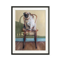 Pug and Antique Chair Oil Painting Archival Giclee Print Poster Wall Art