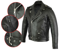 MENS REAL Cow LEATHER BRANDO MOTORBIKE MOTORCYCLE BIKER JACKET All Sizes NEW