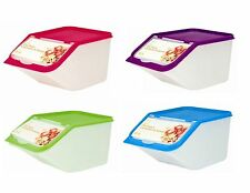 4X SET OF DRY FOOD CONTAINER PLASTIC TUB STORAGE CEREAL PET FOOD SEED WITH SCOOP