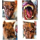 Werewolf Mask Full Face Ultra Deluxe Adult Wolfman Halloween Fangs Hair Costume