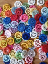 Job Lot of Assorted Flower Patterned Resin Buttons Size 14mm
