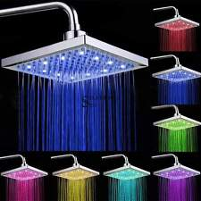 "Top 8"" inch Square Rain Stainless Steel Bathroom 7 Colors LED Light Shower Head"