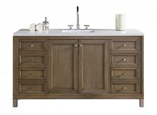 "60"" JAMES MARTIN CHICAGO ALL WOOD WALNUT SINGLE BOWL BATHROOM VANITY - NO TOP"