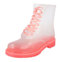 LADIES PINK CLEAR LACE-UP FESTIVAL WELLINGTONS WELLIES ANKLE BOOTS SHOES UK 3-8