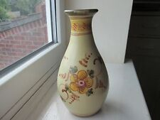 Lovely Vintage Rustic Hand Painted Floral Vase - Portugal Pottery Algarve