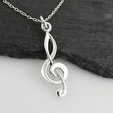 Treble Clef Pendant Necklace - 925 Sterling Silver - Music Musician Songwriter