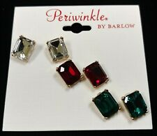 Nature's Jewelry Set Of 3 Goldplated And Faceted Glass Earrings