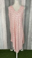 Namastai White Pink Oversized Asymmetric Hem Midi Dress Size 12-14 Lagenlook