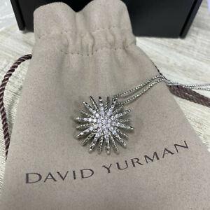 "David Yurman Starburst Pendant Necklace in 18K White Gold with Full Pavé Size18"""
