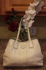 Coach Signature Patent White Leather Kiss Lock carryall bag F15658 (pu220