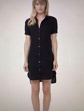 NWT JAMES PERSE Sz 2 Sm Stepped Hem 100% Linen Summer Shirt Dress BLACK