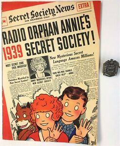 """ORPHAN ANNIE"" (1939) ""SECRET SOCIETY"" Comic Booklet +""CODE CAPTAIN"" Decoder Pin"