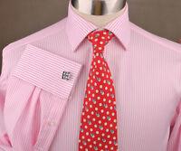 Light Pink Oxford Striped Business French Cuff Dress Shirt Formal Fashion Stars