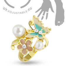 Flower & Butterfly Cz Gems & Pearls Adjustable Mid Ring / Toe Ring