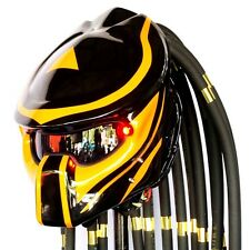 Pro Predator Helmet Glossy Black Yellow Motorcycle Open Face Electric Lamp Casco