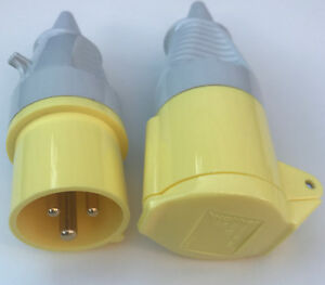 WALTHER 16 Amp PLUG AND SOCKET Yellow 110v IP44 Drill Transformer Connector NEW