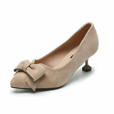 Women's Suede Kitten Heels Sexy Patent Pointed Toe Pumps Bowknot Sandals Slip On