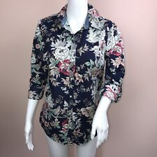 Charter Club Womens Top 6 Cotton Roll Tab Blue Floral Button Down NEW
